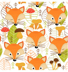 Seamless pattern with fox faces vector
