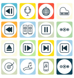 set of 16 music icons includes dance club rewind vector image