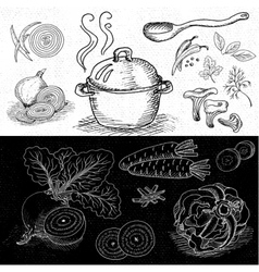 Set of chalk drawn on a blackboard food spices vector