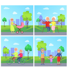Set of with grandparents and kids vector