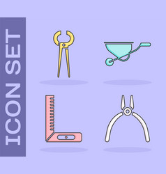 Set pliers tool pincers and pliers corner ruler vector