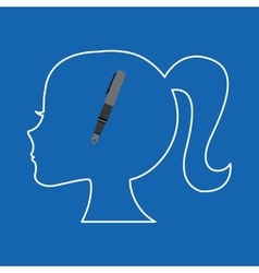 Silhouette head girl school pen vector
