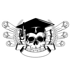 Skull in graduation cap and scrolls vector
