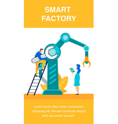 Smart factory workers flat poster template vector