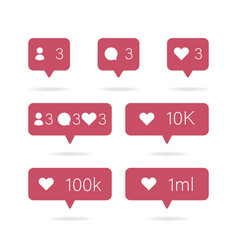 social icon media set icons pack comment follow vector image