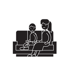 son and mom on the sofa black concept icon vector image