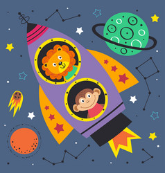 Space lion and monkey in rocket vector