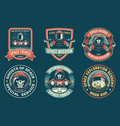 Spaceman badge vintage set vector