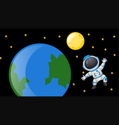 Spaceman floating around the earth vector