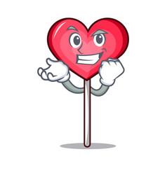 Successful heart lollipop character cartoon vector