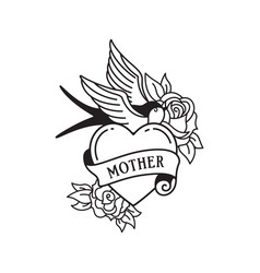 swallow and roses tattoo with wording mother vector image