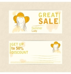 Template two side flyer woman in summer hat vector