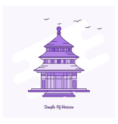 Temple of heaven landmark purple dotted line vector