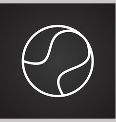 Tennis ball icon on black background for graphic vector