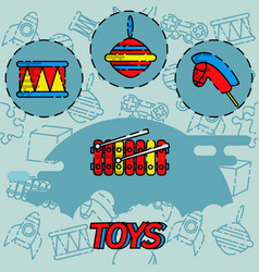 toys flat concept icons vector image