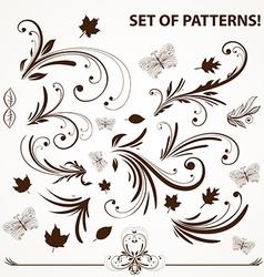 Vintage Leaf Icon Set vector image