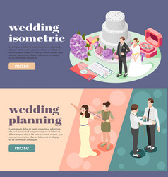 wedding planning isometric banners vector image