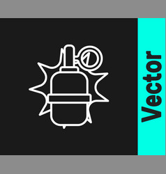 white line hand grenade icon isolated on black vector image