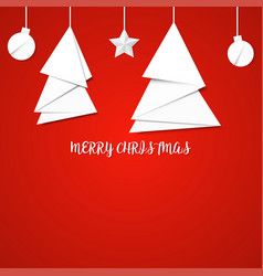 White paper christmas tree on a red background vector