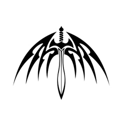 Winged sword with barbed feathers vector image