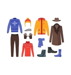 Winter Clothing Man Set vector image