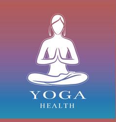 Yoga health training logo with female meditation vector