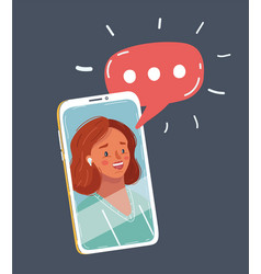 young beautiful woman face speak on phone screen vector image