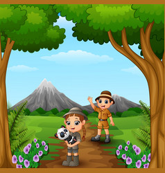 zookeeper boy and girl with panda in the jungle vector image