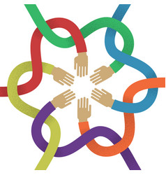 Association several intertwined multicolored hands vector