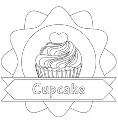 black and white cupcake poster heart topping place vector image vector image