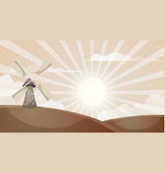 cartoon hot landscape mill cloud sun vector image