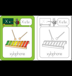 flashcard letter x vector image