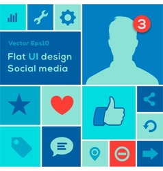 Flat UI design trend social media set icons vector image