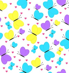 Seamless Pattern with Butterflies and Hearts Girly vector image