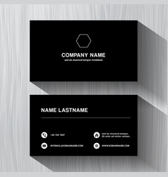 black paper business namecard on a white wood vector image vector image