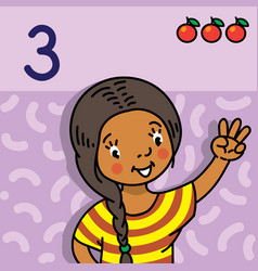 Girl showing three by hand counting education card vector