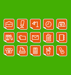 office and business icons on stickers vector image vector image