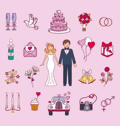 bride and groom wedding couple vector image vector image
