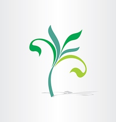 green eco tree floral plant icon vector image