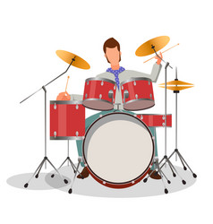 Musician playing drums vector