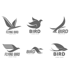 Set of black and white stylized logo templates vector image