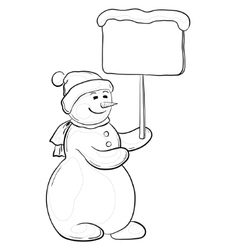snowman woman with sign contours vector image vector image