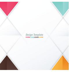template triangle design pink blue orange brown vector image