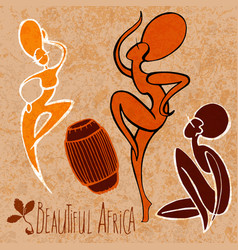 african woman - dancing with drum stylize vector image