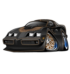 Classic American Black Muscle Car Cartoon vector image vector image