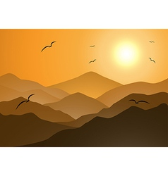 Evening mountains and sunset vector image
