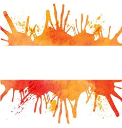 Orange watercolor paint background with blots and vector image vector image
