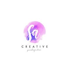 sa watercolor letter logo design with purple vector image