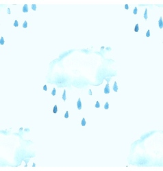 Seamless pattern with watercolor cloud vector image