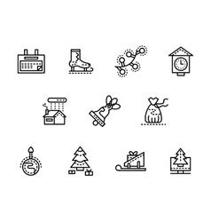 Wintertime black line icons set vector